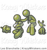 Critter Clipart of a Happy Olive Green Family, Father, Mother and Newborn Baby with Their Dog and Cat by Leo Blanchette