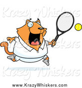 March 23rd, 2014: Critter Clipart of a Happy Orange Cat Playing Tennis by Cory Thoman