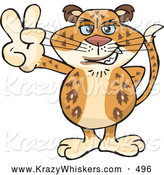 Critter Clipart of a Happy Peaceful Leopard Smiling and Gesturing the Peace Sign by Dennis Holmes Designs