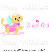 Critter Clipart of a Happy Prancing Angel Cat with Wings, a Halo and Angel Girl Text by