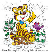 Critter Clipart of a Happy Purple Bird in the Snow, Wearing a Santa Hat, Perched on a Tree by a Tiger Who Is Writing a Dear Santa Letter for Christmas by Alex Bannykh