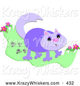 Critter Clipart of a Happy Purple Cat with Paw Prints in Grass by