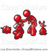 Critter Clipart of a Happy Red Family, Father, Mother and Newborn Baby with Their Dog and Cat by Leo Blanchette