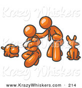 Critter Clipart of a Happy Shiny Orange Family, Father, Mother and Newborn Baby with Their Dog and Cat by Leo Blanchette