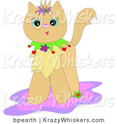 Critter Clipart of a Happy Tan Kitty Cat with a Colorful Collar, Standing on a Pink and Purple Rug by Bpearth