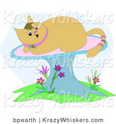 Critter Clipart of a Happy Tan Kitty Cat with a Pink Ringed Tail, Sun Bathing on a Mushroom by Bpearth