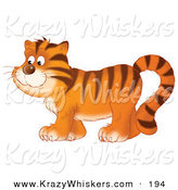 Critter Clipart of a Happy Tiger in Profile, Walking to the Left over White by Alex Bannykh