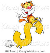 Critter Clipart of a Happy Tiger Riding on a Dollar Symbol and Waving by Hit Toon