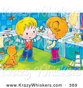 Critter Clipart of a Happy White Boy Talking with His Sister While Standing by a Cat Kin a Bathroom by Alex Bannykh