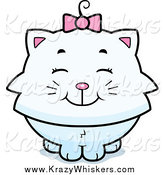 Critter Clipart of a Happy White Kitten by Cory Thoman