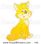 Critter Clipart of a Happy Yellow Kitty Cat with White Cheeks and Chest by Alex Bannykh