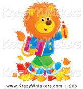 Critter Clipart of a Happy Young Male Lion Wearing Clothes and Walking Through Leaves on His Way to School by Alex Bannykh