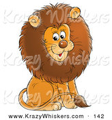 Critter Clipart of a Happy Young Male Lion with a Big Brown Mane, Sitting and Smiling by Alex Bannykh