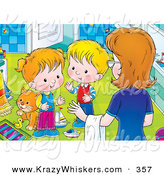 Critter Clipart of a Helpful Mother Instructing Her Two Little Children to Clean up the Messy Bathroom by Alex Bannykh