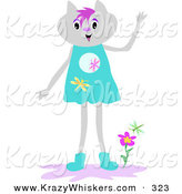 Critter Clipart of a Human like Gray Cat in a Dress, Standing by Flowers and Waving by