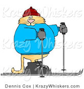 Critter Clipart of a Human-like Orange Tabby Cat Cross-country Skiing by Djart