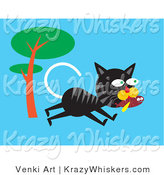 Critter Clipart of a Hungry Black and Gray Alley Cat Running past a Tree and Carrying a Fish in His Mouth by Venki Art