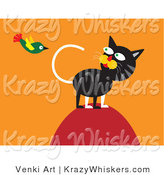 Critter Clipart of a Hunting Cat on Top of a Hill, Watching a Green Bird Flying Overhead by Venki Art