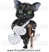 Critter Clipart of a Hurt Green Eyed Black Cat with a Bandaged Foot, Tail and Arm, Using a Crutch by BNP Design Studio