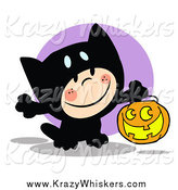 Critter Clipart of a Kid Trick or Treating in a Black Kitty Costume by Hit Toon