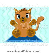 September 3rd, 2014: Critter Clipart of a Kitten on a Mat over Blue by Bpearth