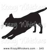 Critter Clipart of a Lazy House Cat Silhouetted in Black, Stretching out on Its Front Legs by KJ Pargeter