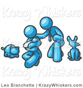 Critter Clipart of a Light Blue Family, Father, Mom and Newborn Baby with Their Dog and Cat by Leo Blanchette