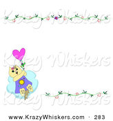 Critter Clipart of a Light Brown Cat Flying Away with a Balloon, in the Lower Left Corner of a White Background with Floral Vines by