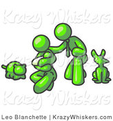 Critter Clipart of a Lime Green Family, Father, Mom and Newborn Baby with Their Dog and Cat by Leo Blanchette