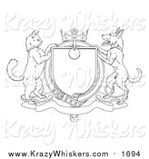 Critter Clipart of a Lineart Cat and Dog Heraldic Coat of Arms Shield by AtStockIllustration