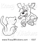Critter Clipart of a Lineart Cat Scaring a Dog by Dero