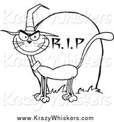 Critter Clipart of a Lineart Halloween Witch Cat by a Tombstone by Hit Toon