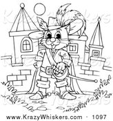 Critter Clipart of a Lineart Puss in Boots by a Castle by Alex Bannykh