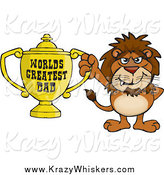 Critter Clipart of a Lion Holding a Golden Worlds Greatest Dad Trophy by Dennis Holmes Designs