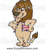 Critter Clipart of a Lion Wearing a British Flag Vest by Dennis Holmes Designs