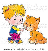 Critter Clipart of a Little Blond Girl Crouching to Pet an Orange Cat by Alex Bannykh