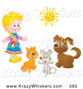 Critter Clipart of a Little Blonde Girl with a Cat, Mouse and Dog Under a Bright Summer Sun by Alex Bannykh