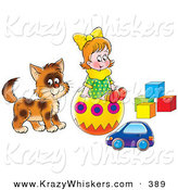 Critter Clipart of a Little Girl and Kitty Playing with a Toy Car, Ball and Blocks by Alex Bannykh