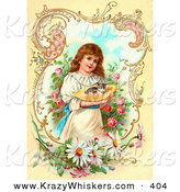 Critter Clipart of a Little Victorian Girl Painting Gently Carrying a Calico Kitten in a Hat Through a Rose Garden, Framed by Scrolls and Daisies by OldPixels