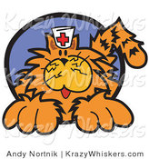 Critter Clipart of a Long Haired Fluffy Orange Cat Wearing a Nursing Cap by Andy Nortnik