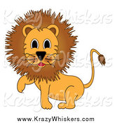 Critter Clipart of a Male Lion Walking by Pams Clipart