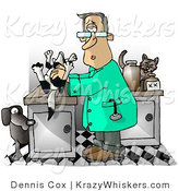 Critter Clipart of a Male Veterinarian with a Dead Dog on His Clinic Table by Djart