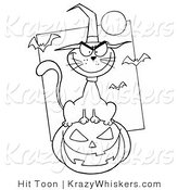 Critter Clipart of a Mean Halloween Cat - Royalty Free by Hit Toon