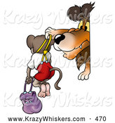 Critter Clipart of a Mean Lion Bullying a Monkey, Holding Him up by Suspenders and Carrying Him by Dero