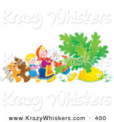 Critter Clipart of a Mouse, Cat, Dog, Girl, Woman and Man Trying to Pull a Giant Carrot or Turnip out of the Buried Ground by Alex Bannykh