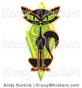 Critter Clipart of a Mysterious Thin Black Cat Sitting in Front of a Green Diamond with the Moon and Stars and Green Eyes by Andy Nortnik