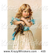 Critter Clipart of a Painting of a Little Victorian Girl in a Fluffy Dress, Hugging Her Scared Kitten by OldPixels