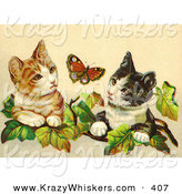 Critter Clipart of a Painting of Two Curious Victorian Cats in Ivy Leaves Watching a Butterfly by OldPixels