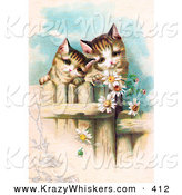 Critter Clipart of a Painting of Two Curious Victorian Kittens Peering over a Wooden Fence, Gazing at Daisy Flowers by OldPixels
