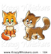 Critter Clipart of a Pair of Frisky Orange and Brown Kitty Cats Looking at the Viewer by Alex Bannykh
